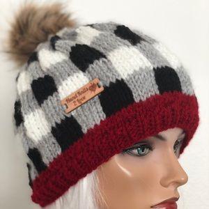 Hand Knits 2 Love Beanie Hat Cap Plaid Pom Pom Hip